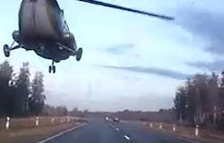 Helicopter Scares Russian Drivers