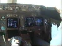 a b777 landing cockpit view